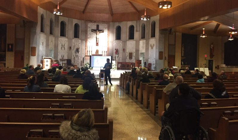 """Participants at the Nov. 7 reflection listen to Dennis Mueller's talk titled """"The Prodigal Father, An Invitation to Conversion and Love."""""""