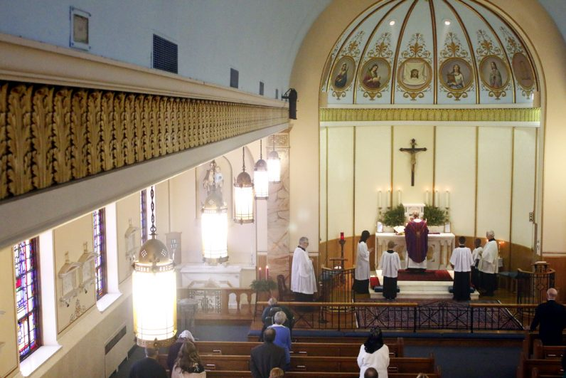 The congregation of St. John the Baptist Parish uses the former Our Lady of Mount Carmel Church in Bridgeport, which merged with Sacred Heart Parish in Swedesburg in 2014. (Sarah Webb)
