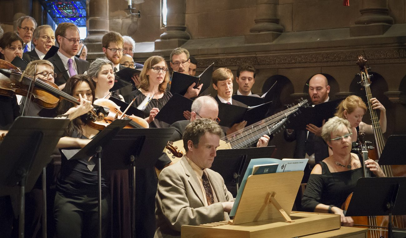 Choral Arts Philadelphia and the Philadelphia Bach Collegium perform in May 2015 at St. Clement's Church. (Photo by Sharon Torello)