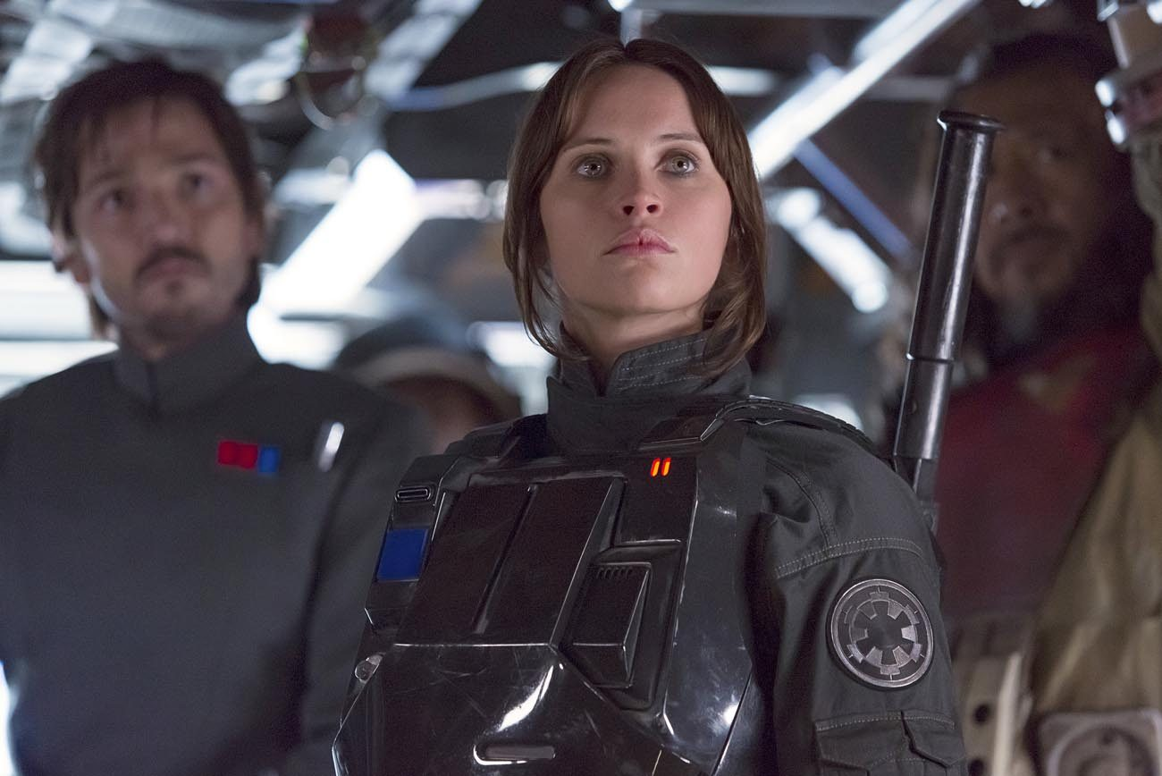 """Diego Luna, Felicity Jones and Jiang Wen star in a scene from the movie """"Rogue One: A Star Wars Story.""""  (CNS photo/Lucasfilm Ltd.)"""
