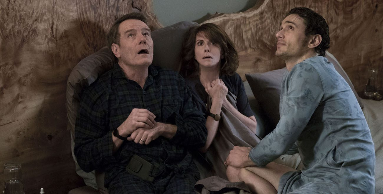 "Bryan Cranston, Megan Mullally and James Franco star in a scene from the movie ""Why Him?"" (CNS photo/Fox)"