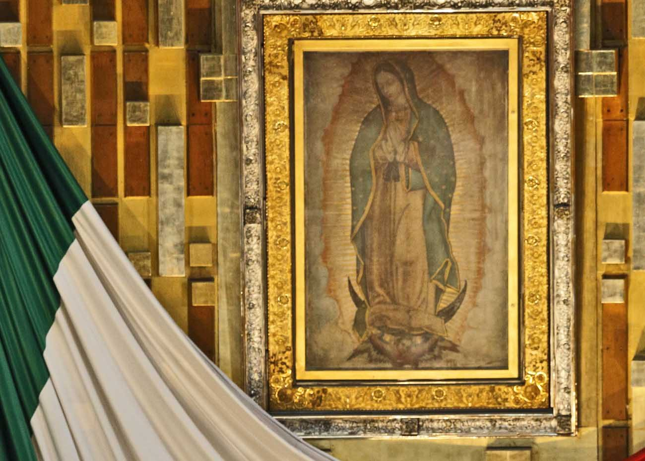 The original image of Our Lady of Guadalupe is seen in the Basilica of Our Lady of Guadalupe in Mexico City. The message of Our Lady of Guadalupe is as relevant today as it was nearly 500 years ago, say scholars. (CNS photo/Paul Haring)