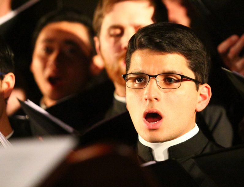 "Marco Casanova sings ""In the Bleak Midwinter"" with the St. Charles Seminary Choir."