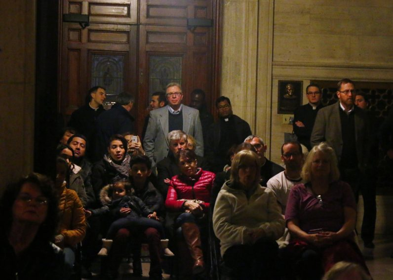 The crowd overflowed into the vestibule of St. Martin's Chapel at St. Charles Borromeo Seminary for the concert, where a free will offering was taken to benefit Catholic Relief Services.