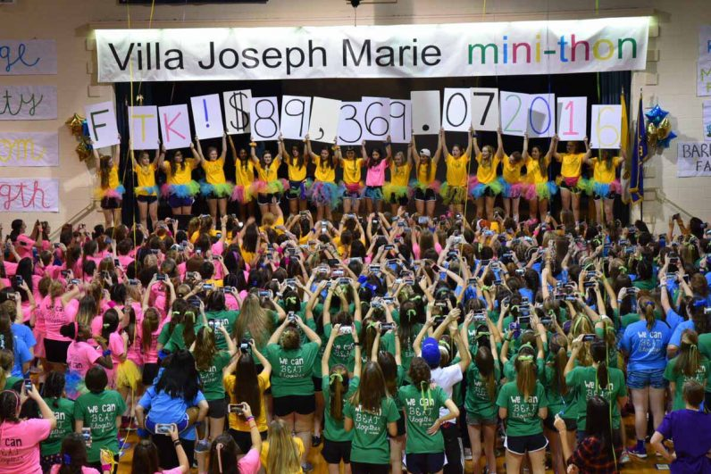 Villa Joseph Marie High School students have plenty enough energy left after their 10-hour dance-a-thon Friday, Dec. 9 to celebrate raising more than $89,000 to help children with cancer.
