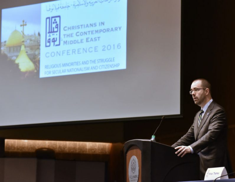 Knox Thames, special adviser for religious minorities at the U.S. Department of State in Washington, D.C., gives the keynote address Dec. 5 at Villanova University's conference on Christians and religious minorities in the Middle East. (Photo by Villanova University)