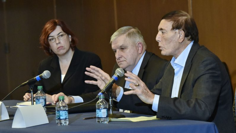 Three of the 12 speakers at a Dec. 5-6 conference at Villanova University discuss Christians and religious minorities in the Middle East during a panel forum. (Photo by Villanova University)