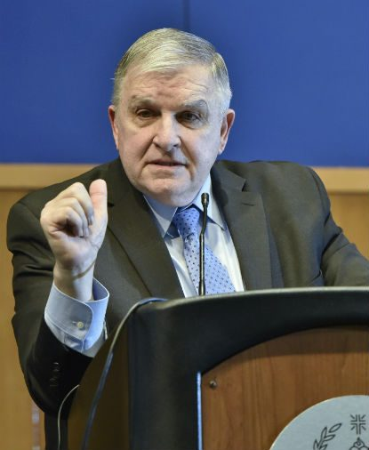 Retired four-star Marine general and diplomat Anthony Zinni, a former member of St. Matthew Parish in Conshohocken, makes a point during the Dec. 5-6 conference at Villanova University on Christianity on the Middle East. (Photo by Villanova University)