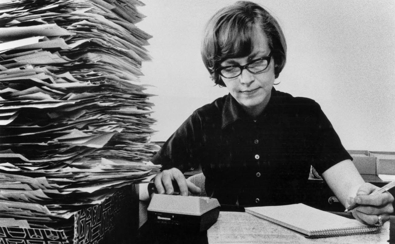 Worker tabulates petitions calling for an amendment to the Constitution to protect the unborn in March 1973 at the office of Our Sunday Visitor in Huntington, Ind. The abortion rate in the U.S. has fallen to its lowest level since Roe v. Wade legalized the procedure in 1973, a new report finds.  (CNS file photo)