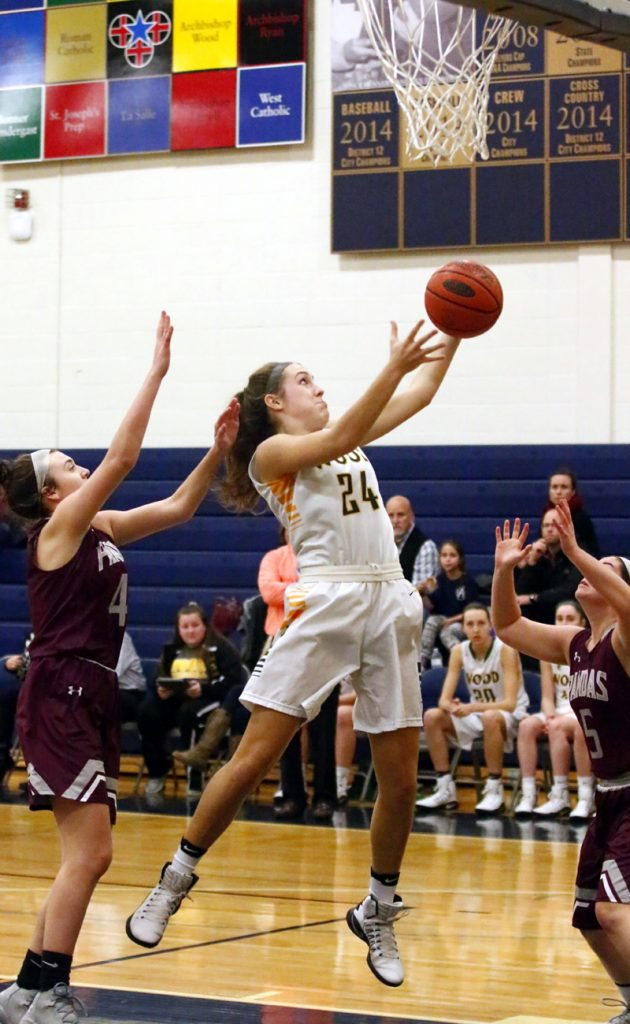Wood's Katie May grabs a rebound.