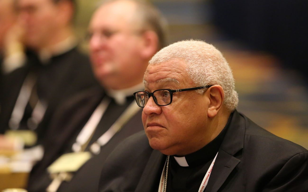 Bishop George V. Murry of Youngstown, Ohio, listens to a speaker Nov. 15 during the annual fall general assembly of the U.S. Conference of Catholic Bishops in Baltimore. (CNS photo/Bob Roller)