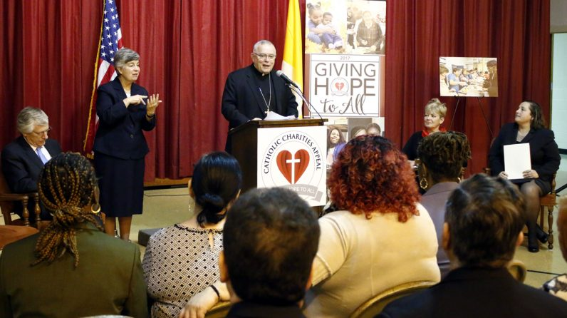 Archbishop Charles J. Chaput speaks at a press conference to kick off the 2017 Catholic Charities Appeal Jan. 18 at St. Katherine Day School in Wynnewood. The school of special education, along with 180 Catholic agencies and ministries, is a beneficiary of the appeal, the largest annual fundraiser for the Church in Philadelphia. (Photo by Sarah Webb)