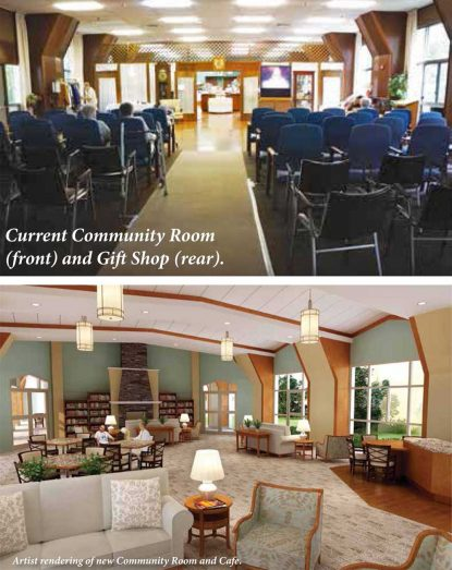 The current community room at St. Joseph Villa is shown at top, with the proposed community room below.