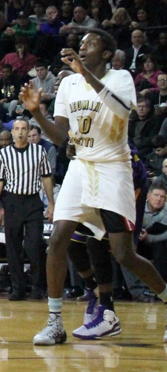 Leading Neumann-Goretti with 22 points in a 70-42 victory over Father Judge on Jan. 17, Dhamir Cosby-Roundtree topped the 1,000-point mark for his scholastic career. (Sarah Webb)