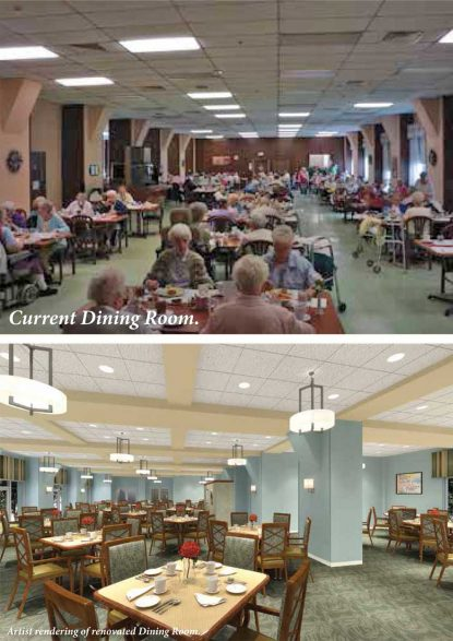 This photo shows the current dining hall of St. Joseph Villa at top, and what it will look like after the renovation is complete, at bottom.