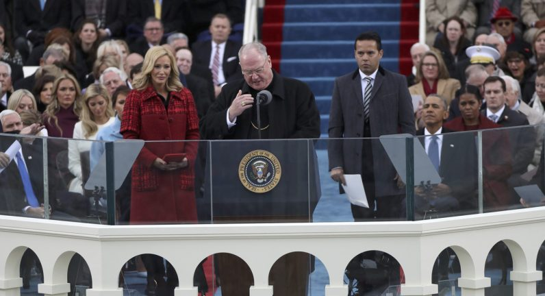 New York Cardinal Timothy M. Dolan delivers the invocation before U.S. President-elect Donald Trump's swearing-in as the country's 45th president at the U.S. Capitol in Washington. (CNS photo/Carlos Barria, Reuters)