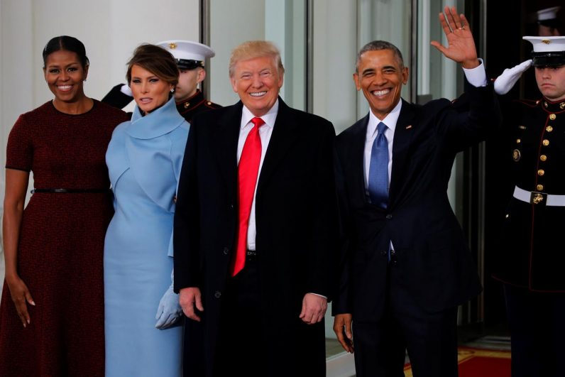 U.S. President Barack Obama waves alongside President-elect Donald Trump, his wife, Melania, and first lady Michelle Obama, far left, after the Trumps arrived for tea at the White House before the Jan. 20 inauguration in Washington. (CNS photo/Jonathan Ernst, Reuters)