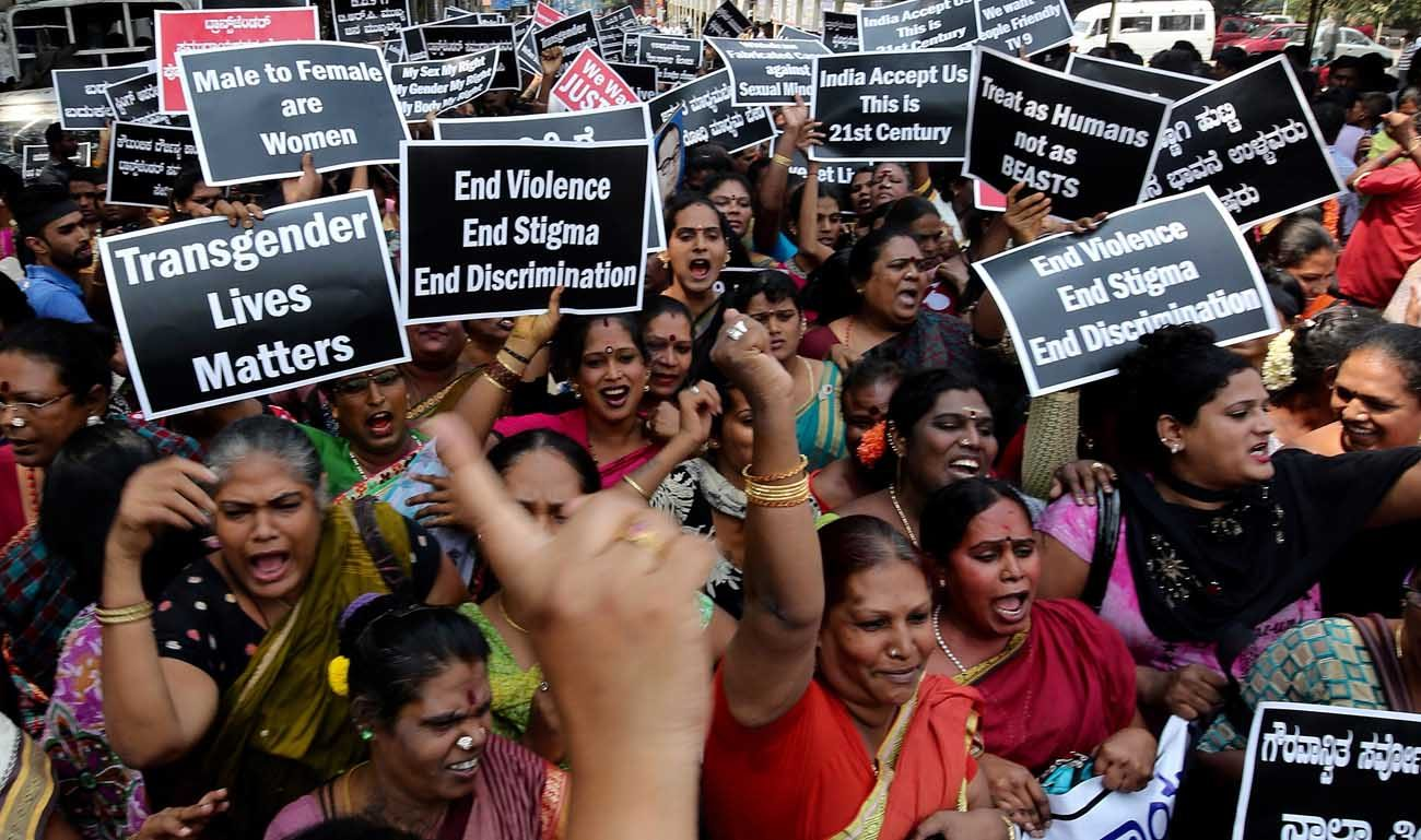 Members of the LGBT community hold placards during a protest protest rally in Bangalore, India, Oct. 21, 2016. The church in India's Kerala state has formed a group of priests, nuns and laypeople to respond to the pastoral needs of transgender people. (CNS photo/Jagadeesh Nv, EPA)