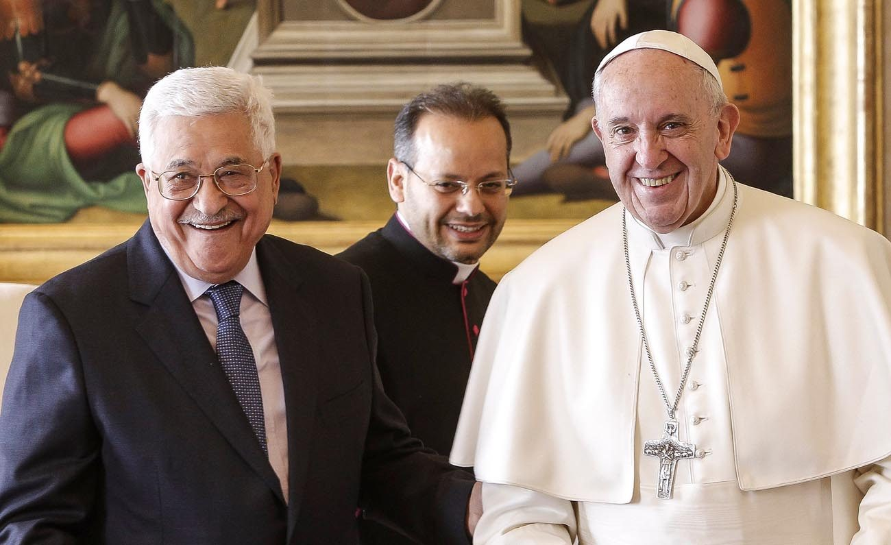 Pope Francis is pictured with Palestinian President Mahmoud Abbas during a meeting at the Vatican Jan. 14. (CNS photo/Giuseppe Lami, Reuters pool)