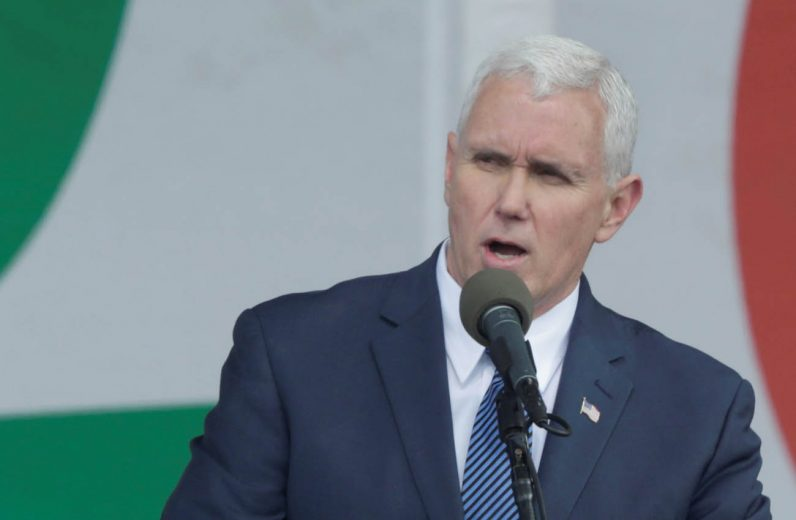 U.S. Vice President Mike Pence speaks during a rally at the annual March for Life in Washington Jan. 27. (CNS photo/Yuri Gripas, Reuters)