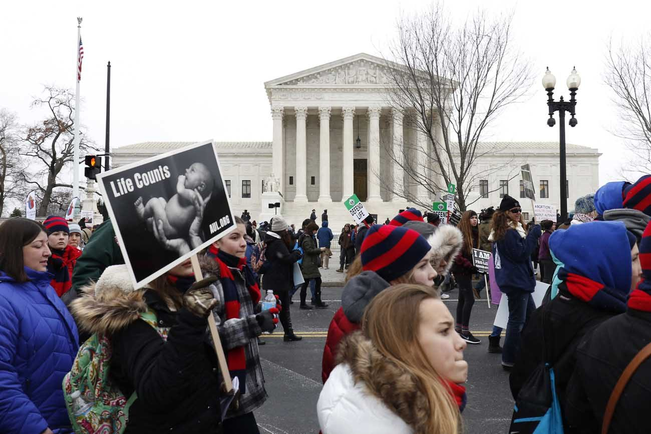 Pro-life advocates walk past the Supreme Court building during the March for Life in Washington Jan. 22, 2016. This year's march is set for Jan. 27, starting near the Washington Monument. (CNS photo/Gregory A. Shemitz)