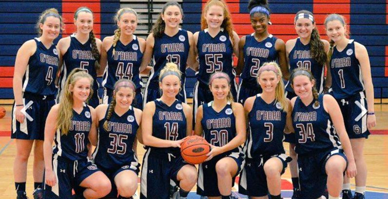 Mary Sheehan, top row fourth from left, poses proudly with her Cardinal OHara girls basketball teammates.