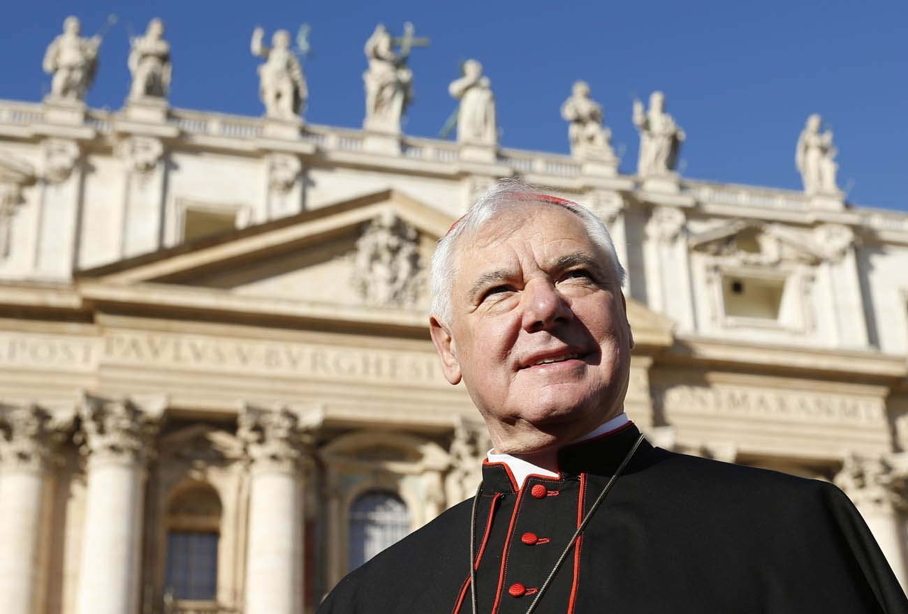 """Cardinal Gerhard Muller, prefect of the Congregation for the Doctrine of the Faith, is pictured in St. Peter's Square at the Vatican in this Nov. 19, 2014, file photo. Cardinal Muller said the Catholic Church is """"very far"""" from a situation in which Pope Francis is in need of """"fraternal correction."""" He made his comment in an interview about the pope's apostolic exhortation, """"Amoris Laetitia,"""" with Italian news channel TGCom24. (CNS photo/Paul Haring)"""