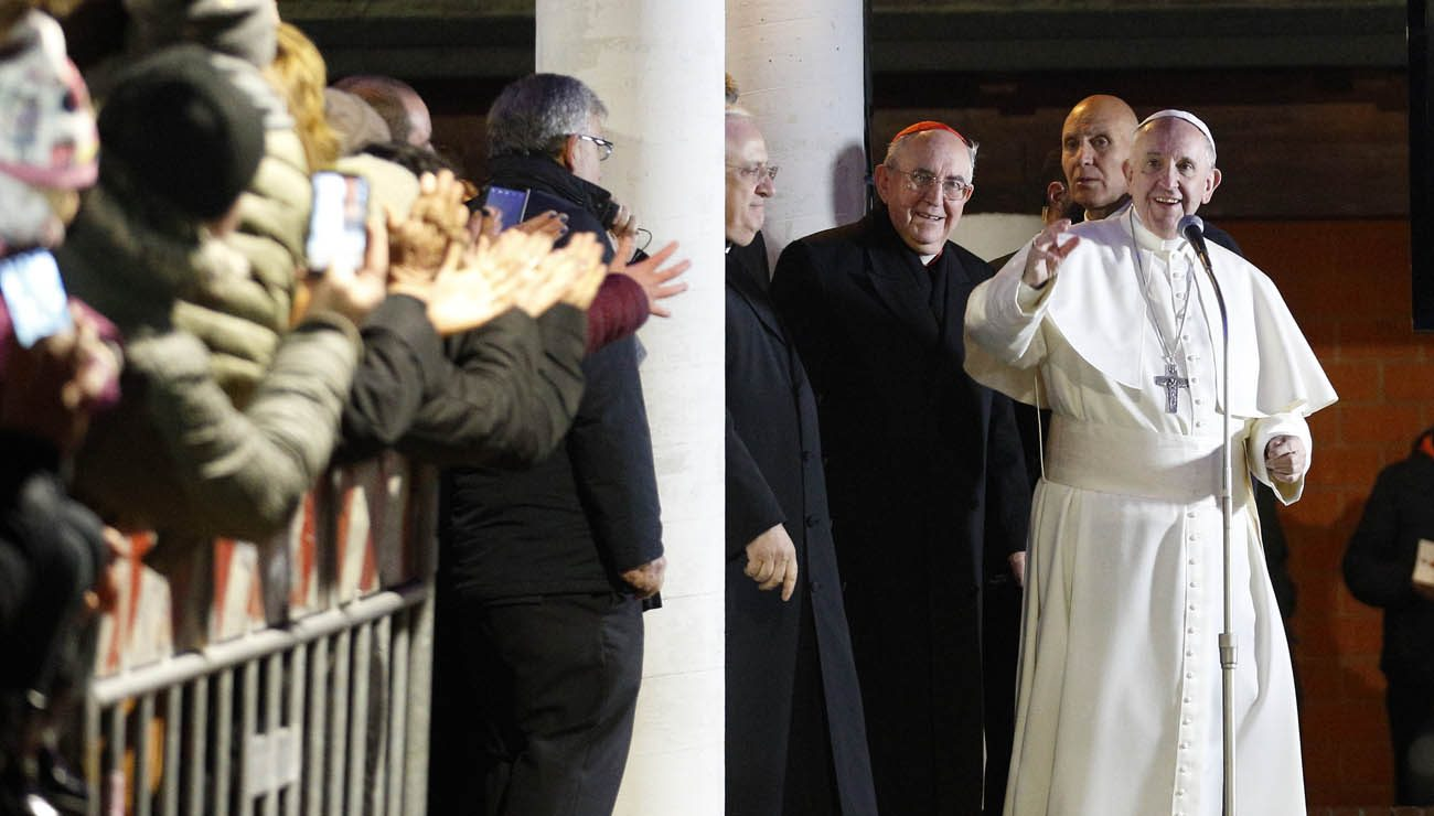 Pope Francis greets the crowd outside the church after celebrating Mass at the parish of St. Mary in the Setteville neighborhood of Rome Jan. 15. (CNS photo/Paul Haring)
