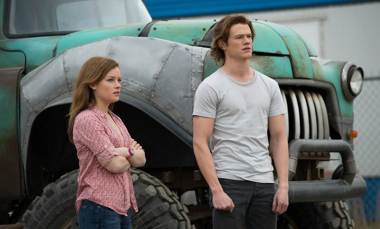 "Jane Levy and Lucas Till star in a scene from the movie ""Monster Trucks.""(CNS photo/Paramount)"