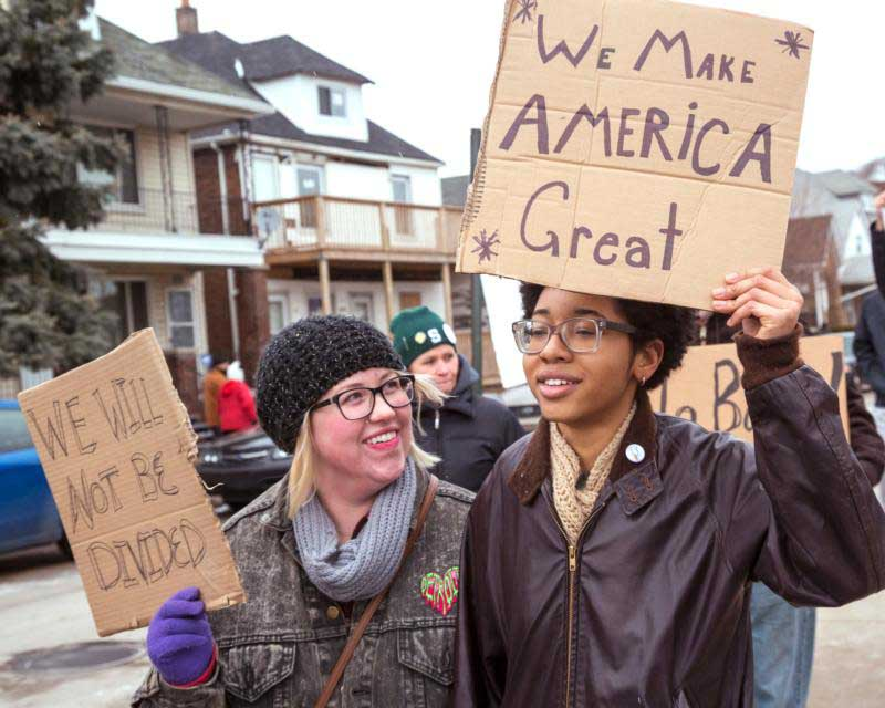 People in Hamtramck, Mich., participate in a Jan. 29 protest against President Donald Trump's travel ban. (CNS photo/Jim West)