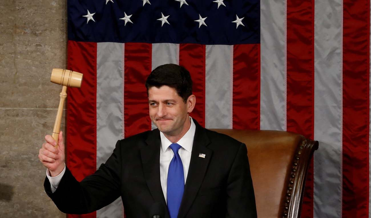 U.S. House Speaker Paul Ryan, R-Wis., raises the gavel during the opening session of the new Congress on Capitol Hill in Washington Jan. 3. Ryan, who is Catholic, was re-elected speaker of the House of Representatives earlier in the day. (CNS photo/Jonathan Ernst, Reuters)