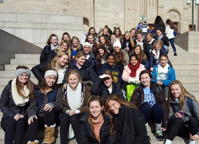 Students of the Academy of Notre dame de Namur  in Villanova gather Jan. 27 on the steps of the Basilica of the National Shrine of the Immaculate Conception after Mass for Philadelphians before joining the 44th annual Rally and March for Life  in Washington, D.C.