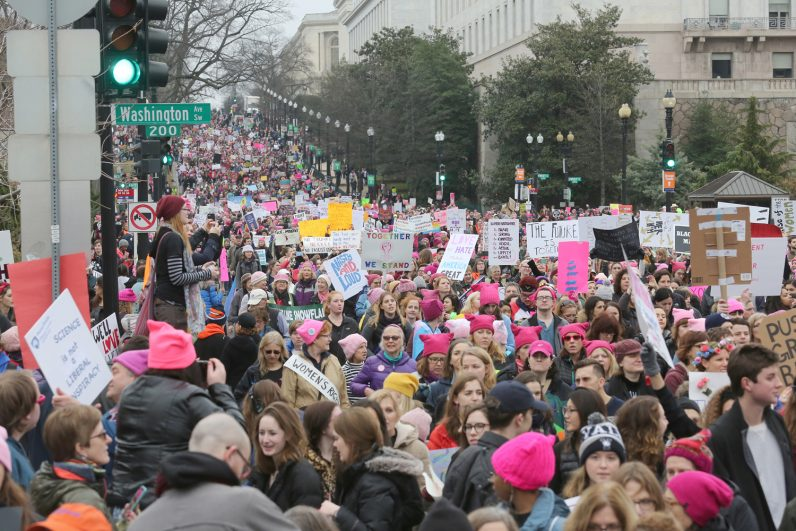 Participants in the Women's March on Washington make their way down Independence Avenue Jan. 21. (CNS photo/Bob Roller)