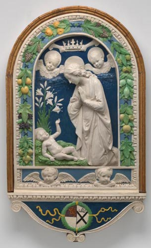 """The Adoration of the Child,"" which was created after 1477 by Andrea della Robbia, will be featured in an upcoming exhibit opening this spring at the National Gallery of Art in Washington. (CNS photo/courtesy National Gallery of Art) See ART-REVIEW-DELLA-ROBBIA-EXHIBIT Feb. 6, 2017."