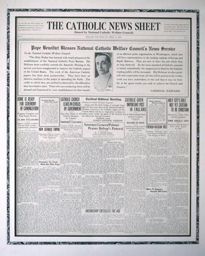 This is a copy of the April 11, 1920, issue of The Catholic News Sheet, produced by the National Catholic Welfare Council new service, the precursor to Catholic News Service. (CNS) See DIGITIZE Feb. 1, 2017.