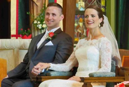 Dan and Becca Dougherty, on their wedding day Aug. 15, 2015 in St. Andrew Church, Newtown.