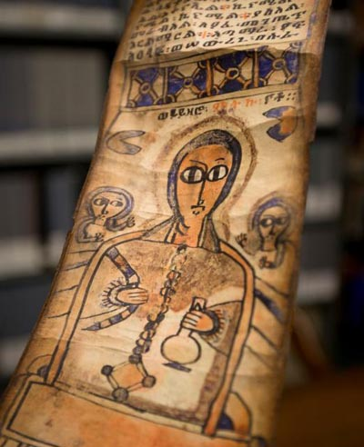 "An Ethiopic prayer scroll, commonly known as a ""magic"" scroll, is seen at Mullen Library on the campus of The Catholic University of America in Washington Jan. 25. The university is the holder of the fifth largest collection of Ethiopian Christian manuscripts in the United States and the largest collection of Ethiopian Islamic manuscripts outside Ethiopia. (CNS photo/Tyler Orsburn)"
