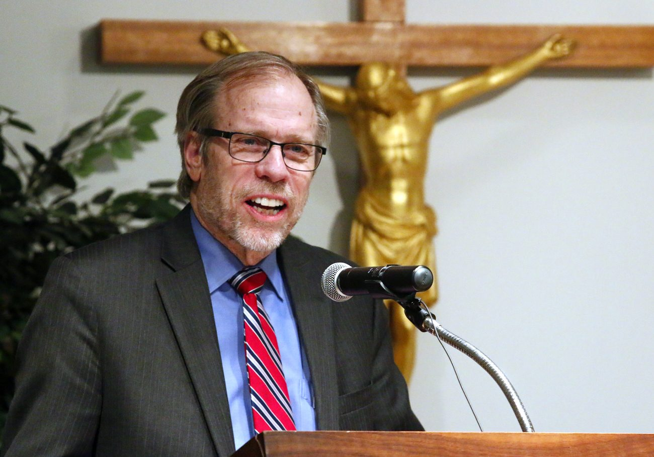 "Gregory Erlandson, director and editor-in-chief of Catholic News Service, speaks Jan. 30 at St. Charles Borromeo Seminary, Wynnewood. He offered the Cardinal John Foley lecture, ""The Power of the Word: Catholic News Media and Spiritual Formation."" (Sarah Webb)"