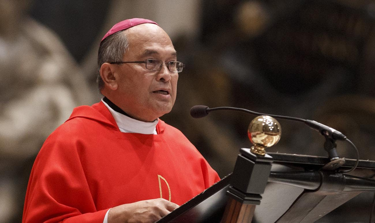 Archbishop Anthony Apuron of Agana, Guam, is pictured in a 2012 photo at the Vatican. Cardinal Raymond L. Burke, a church law expert and former head of the Vatican's highest court, arrived in Guam Feb. 15 as the presiding judge in a church trial investigating allegations of sexual abuse leveled against Archbishop Apuron. (CNS photo/Paul Haring)