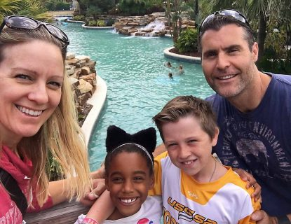 Steve and Beth Grandizio of St. Philip Neri Parish in Philadelphia spend time on vacation with their children, son Marshall (right) and daughter Emme.