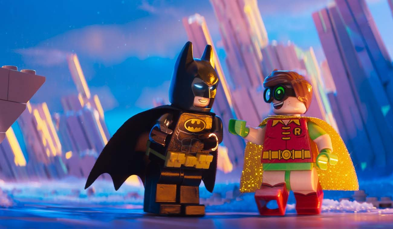 "Animated characters Batman, voiced by Will Arnett, and Robin, voiced by Michael Cerea, appear in the movie ""The Lego Batman Movie.""  (CNS photo/Warner Bros.)"
