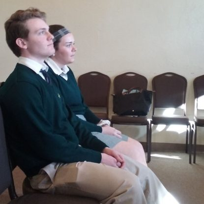 McCabe and Mary Kate Burger, both seniors at LC, pray before the Lord in the exposed Eucharist.