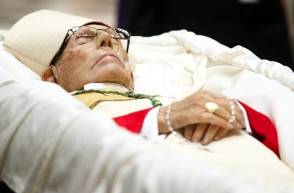 Bishop Martin Lohmuller lies in state at the Cathedral Basilica of SS. Peter and Paul. (Sarah Webb)