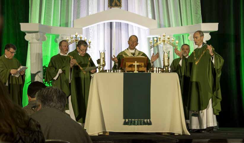 Baltimore Archbishop William E. Lori celebrates Mass Feb. 17 during the Mid-Atlantic Congress in Baltimore. (CNS photo/Olivia Obineme, Catholic Review)