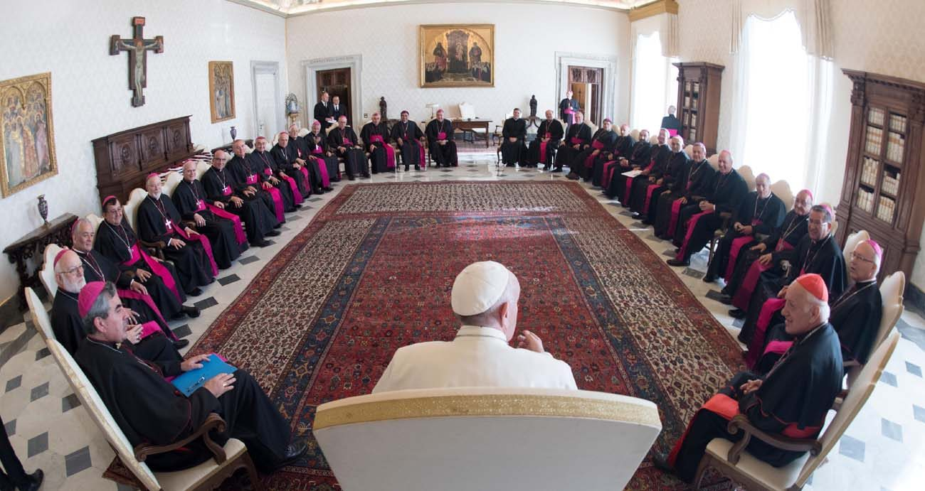 "Pope Francis meets with bishops from Chile during their ""ad limina"" visits to the Vatican Feb. 20. (CNS photo/L'Osservatore Romano)"