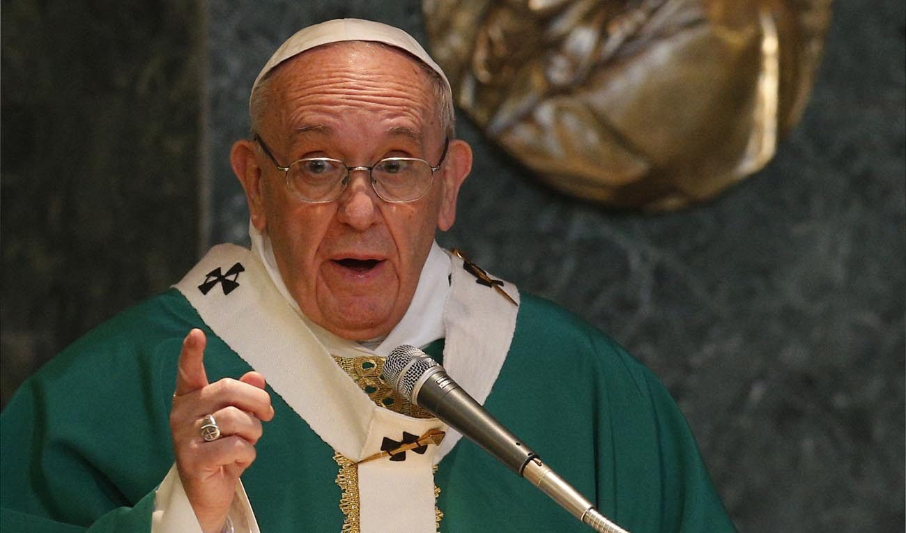 Pope Francis gives the homily while celebrating Mass at St. Mary Josefa Parish in Rome Feb. 19. (CNS photo/Paul Haring)