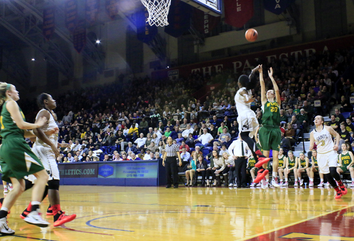 Last year's Catholic League girls' basketball final featured Neumann-Goretti against Archbishop Wood, who returns to this year's league final at the Palestra Monday night, Feb. 27. The girls' final begins at 6:30 p.m., with the boys' final to follow. (Photo by Sarah Webb/Katlin Rooney)