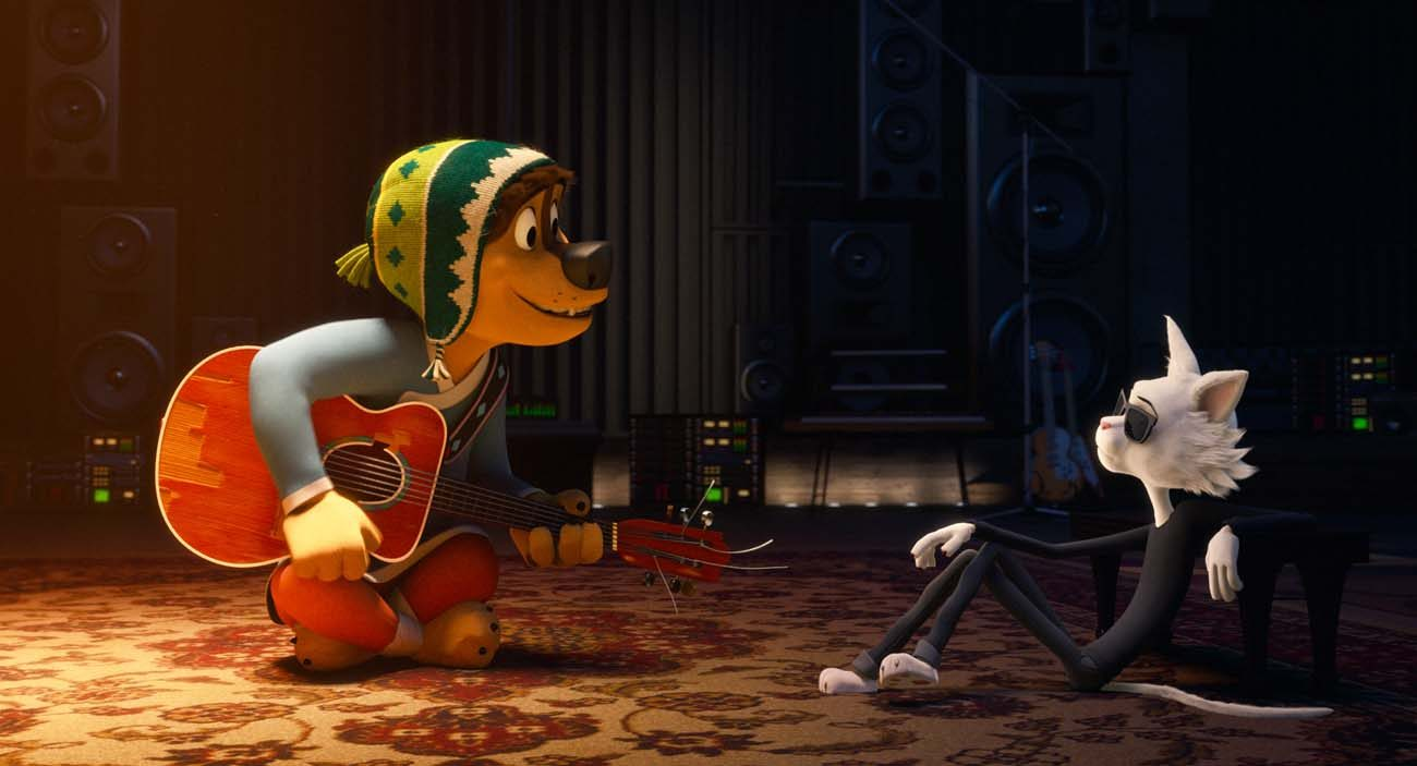 "Animated characters Bodi, voiced by Luke Wilson and Angus Scattergood, voiced by Eddie Lzzard, star in a scene from the movie ""Rock Dog."" (CNS photo/Lionsgate)"