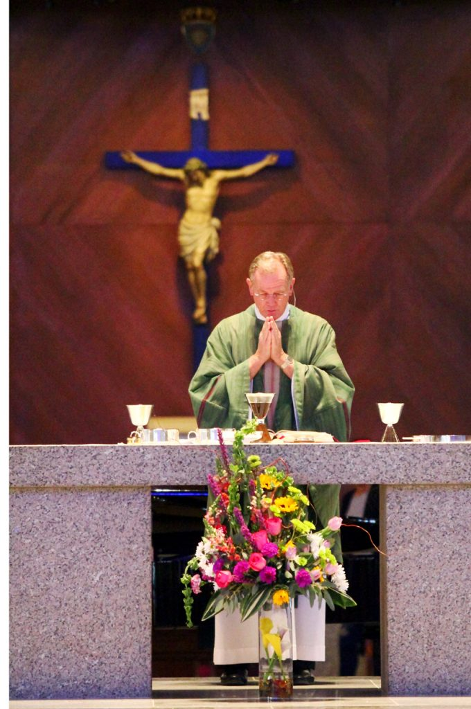 Msgr. Hans Brouwers celebrates Mass at St. Katharine in Wayne.