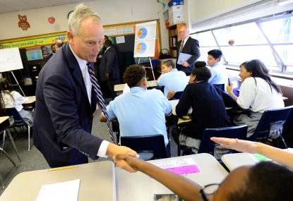 Rep. Mike Turzai (R-Allegheny), Speaker of the Pennsylvania House of Representatives, greets students at Harrisburg Catholic Elementary while rallying support for expanding the successful Educational Improvement Tax Credit (EITC) and Opportunity Scholarship Tax Credit (OSTC) programs. (Photo by Chris Heisey, Harrisburg Catholic Witness)